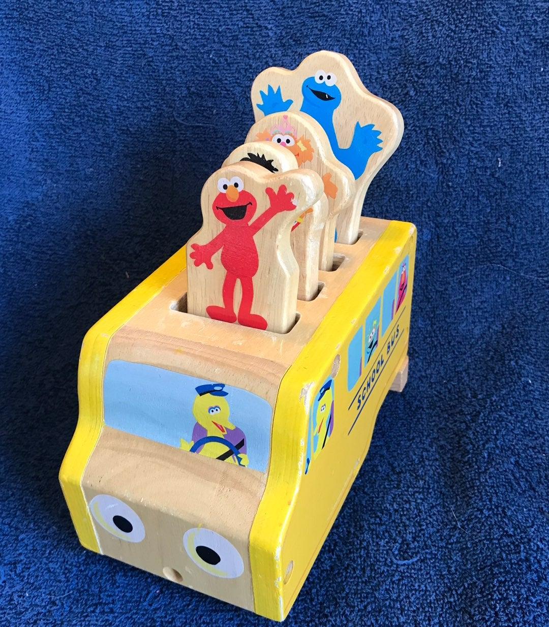 sesame street bus wood baby toy car