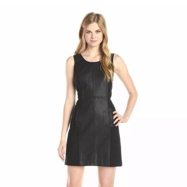 Kensie Black Leather Dress Small S