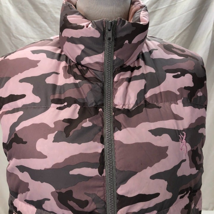 BROWNING FOR HER PINK CAMOUFLAGE GOOSE DOWN PUFFER VEST SIZE SMALL
