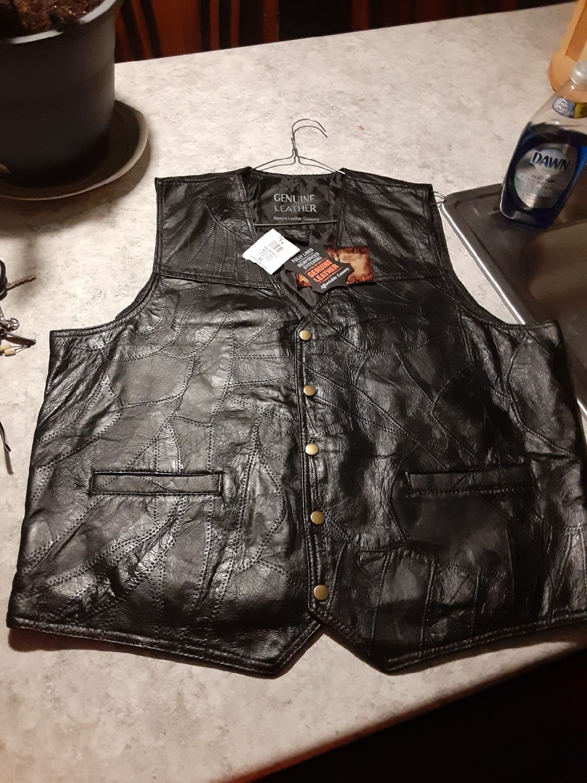 Genuine leather.. XL leather Vest.