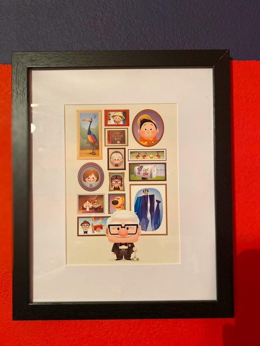Disney Up postcard with black frame