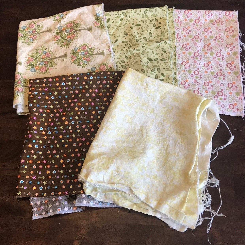 Fabric Squares (5) Flower Prints