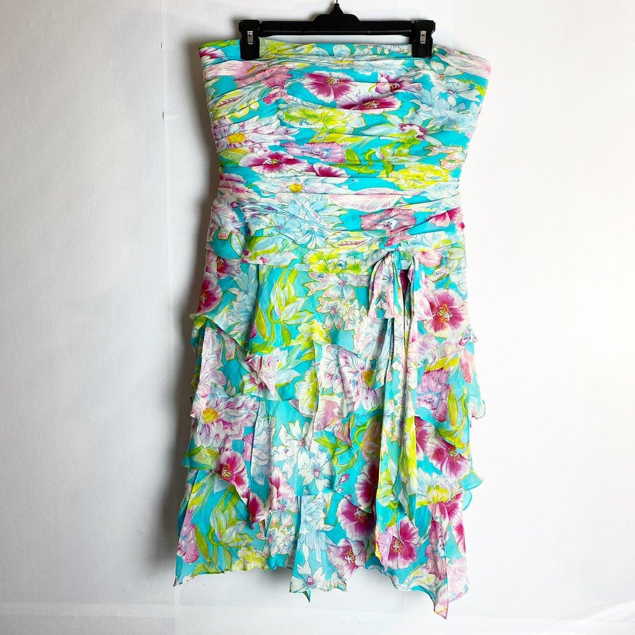 Kay Unger Silk Strapless Floral Dress