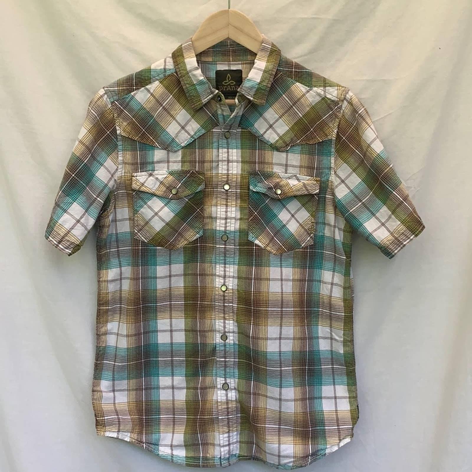 Prana Western Style Plaid Men's Shirt S