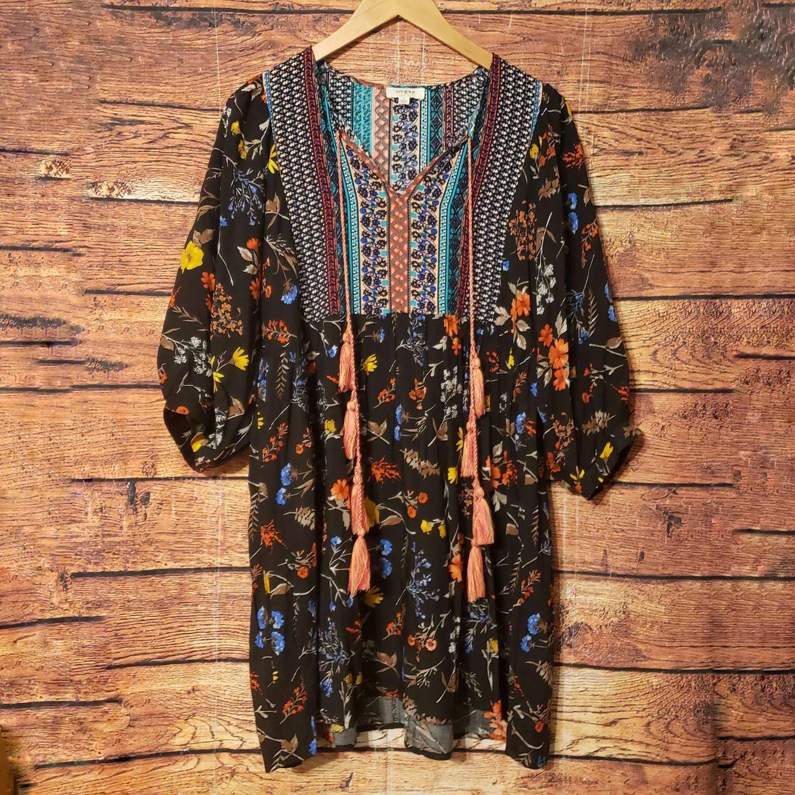Umgee Bohemian Floral Tassel Dress