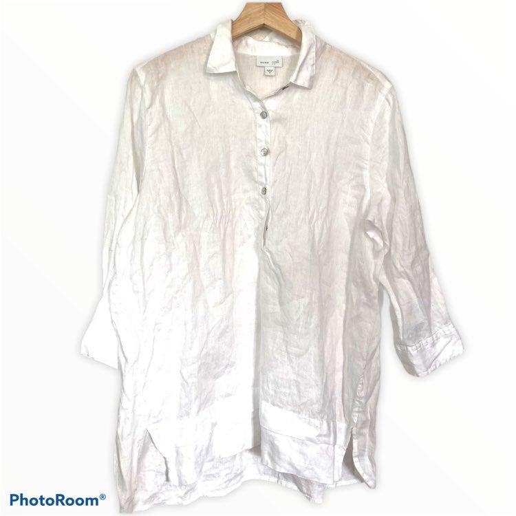 J Jill linen 3/4 sleeve button Tunic Top
