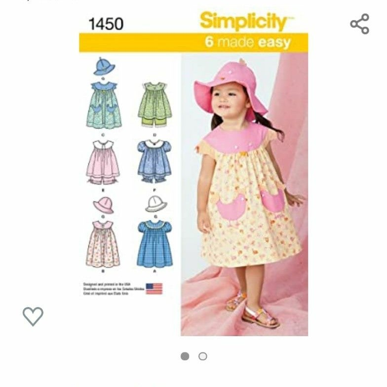 Simplicity Sewing Pattern 1450 (Sizes 1/