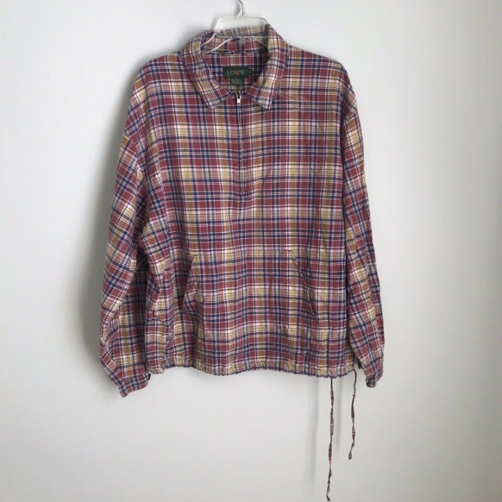 Vtg J Crew Maroon Plaid Pullover Jacket
