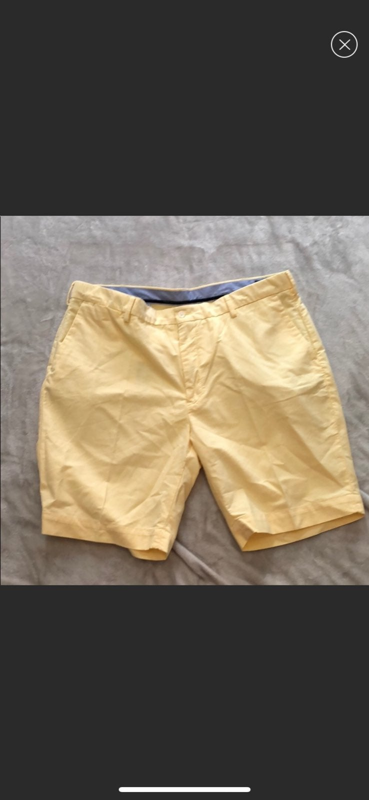 Men's Yellow Flat Front Polo Shorts