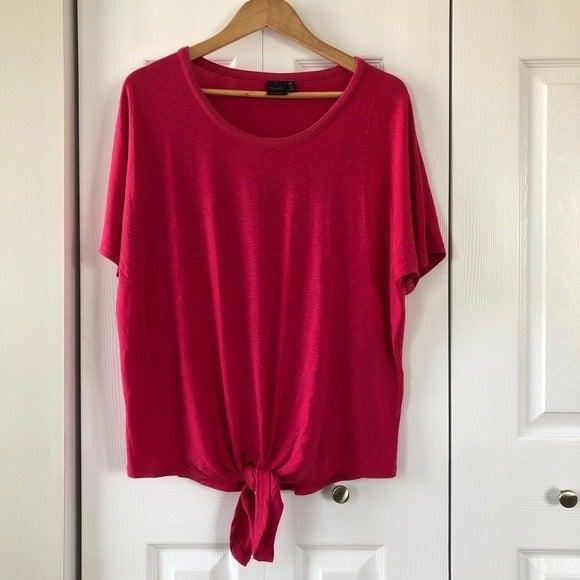Rafaella Pink Tie Front Tee Shirt Top Me
