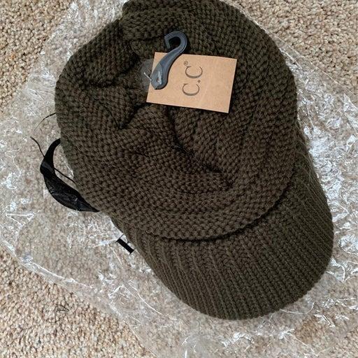 Brand new olive beanie with visor