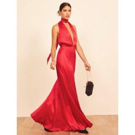 Reformation Gauche Cherry Halter Dress