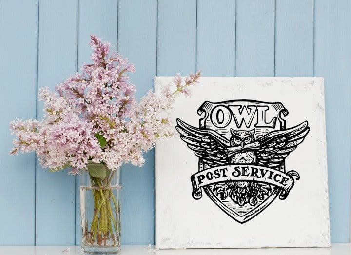 Owl Postal Service 10x10 Canvas Wall Art