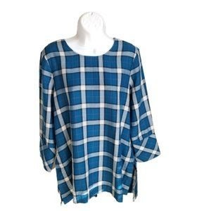 J.Jill Top Plaid Tunic Small Petite