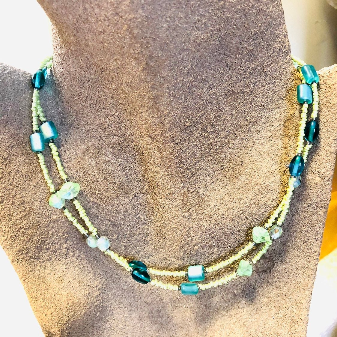 Necklace - blue green double row NEW