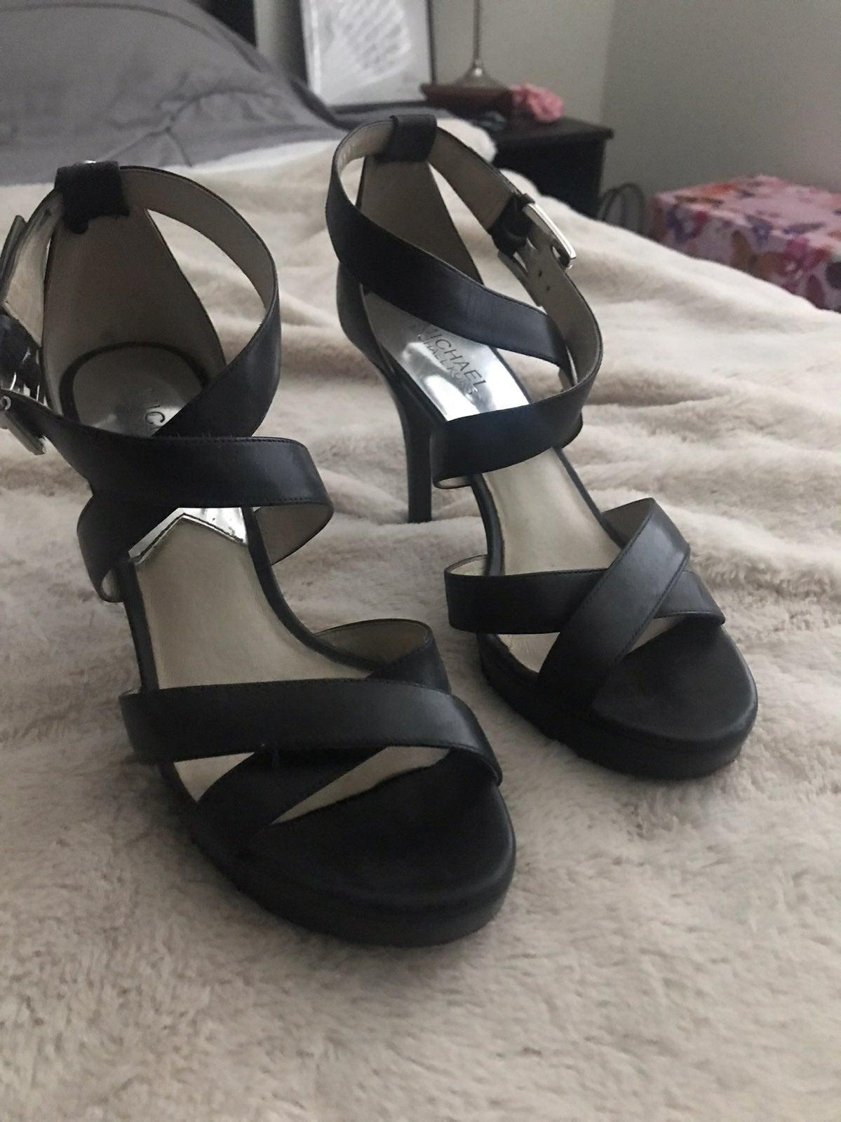 Michael Kors Black Leather Strappy Heels