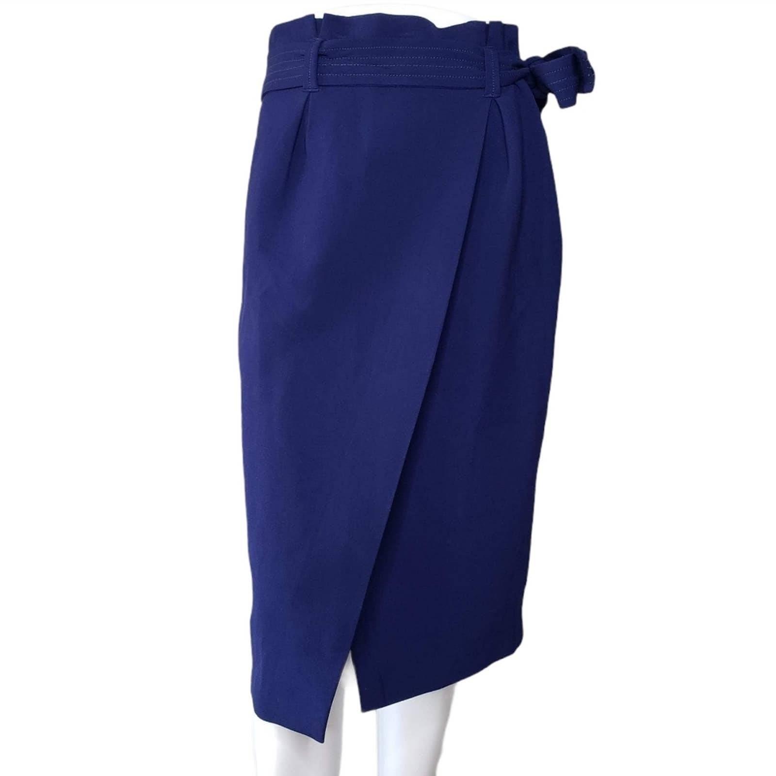 Zara Woman | Navy Faux Wrap Tie Skirt M