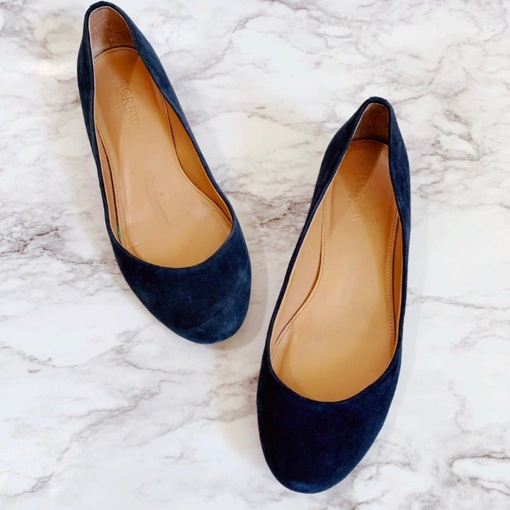 J. Crew G8998 Lily Suede Covered Heel Flats 6.5 Navy