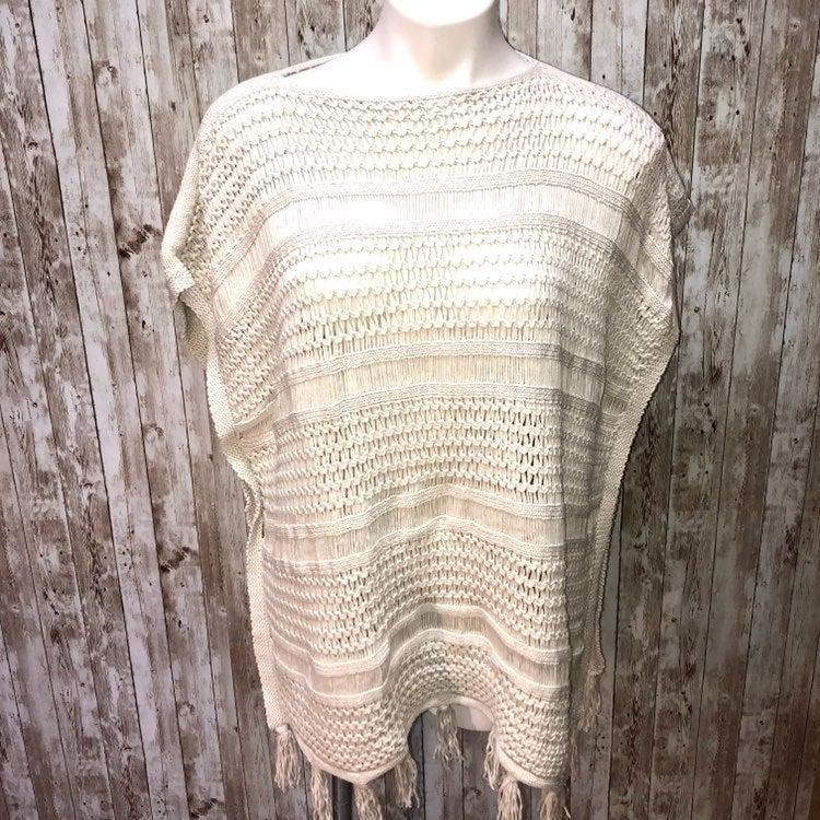 J. Jill white crochet poncho sweater