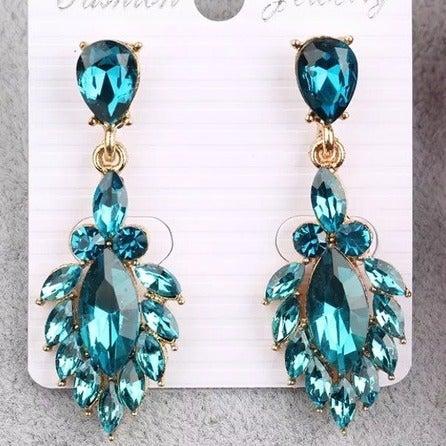 Teal Crystal Formal Earrings