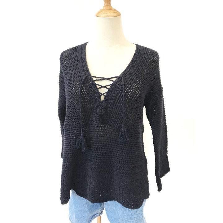 J.Jill Blue Crochet Tunic Lace Up Bell Sleeves 3/4 Sleeve