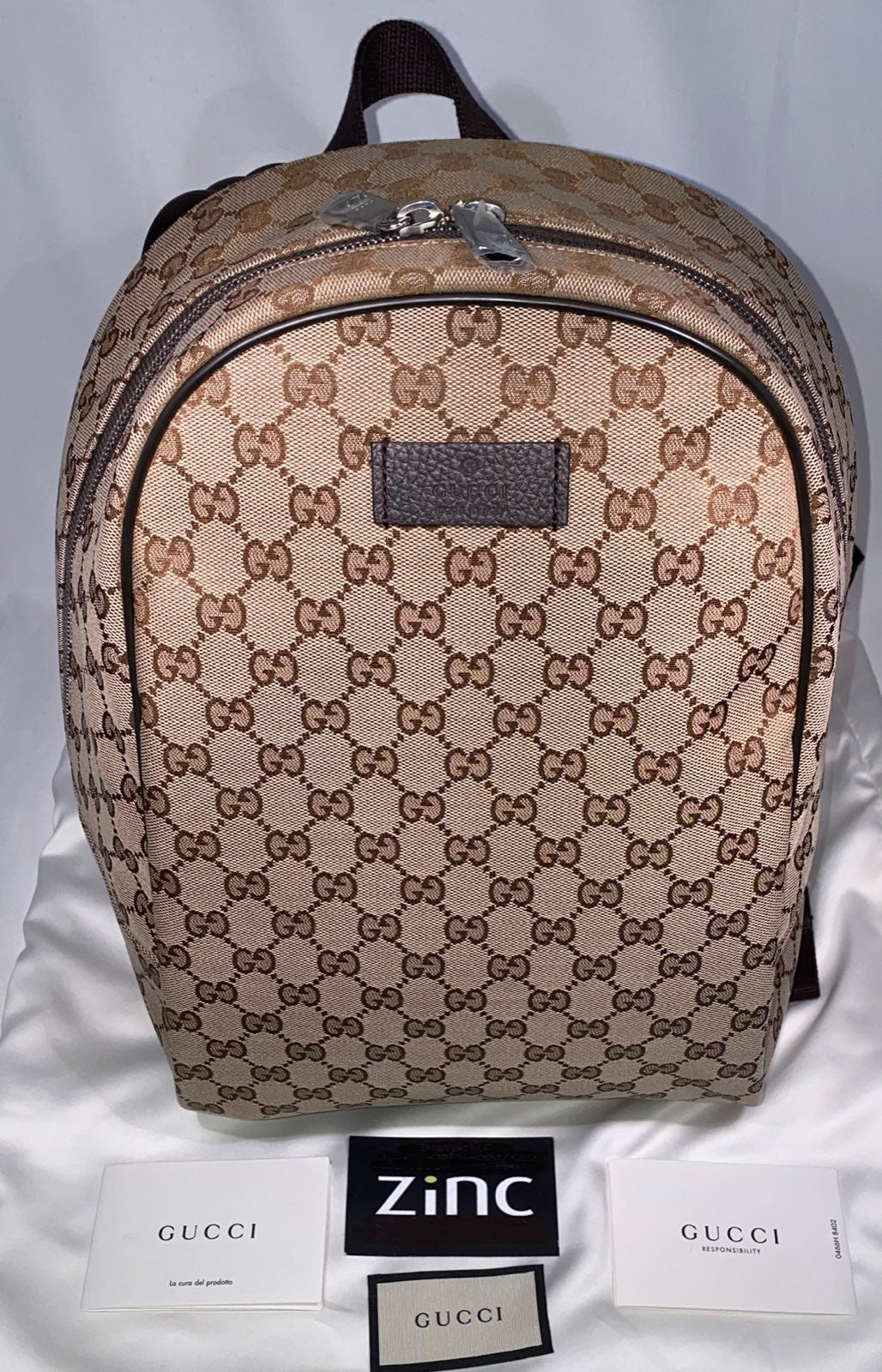 Gucci GG Web Canvas Guccima Backpack