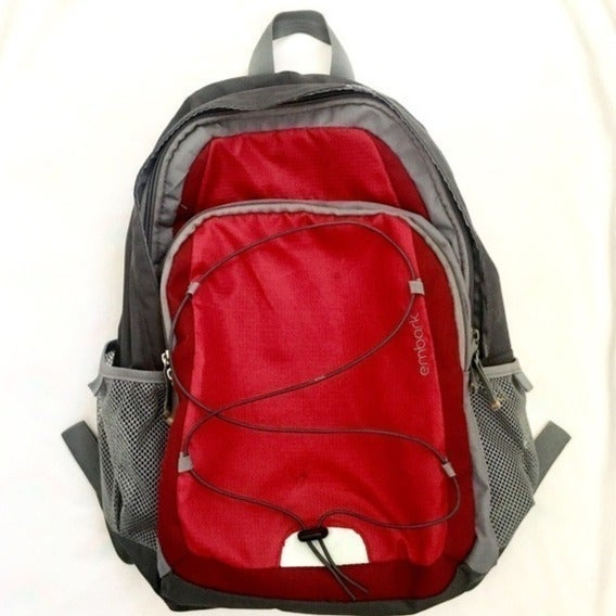 Gray & Red Embark Travel School Backpack