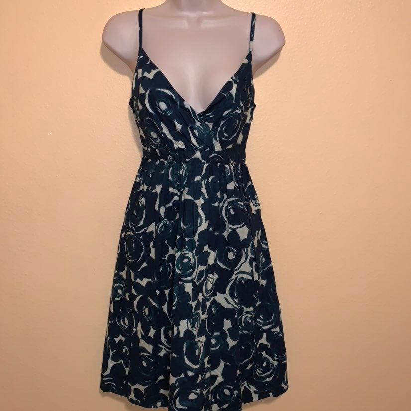 Garnet Hill Floral Teal Dress 8 M Dress
