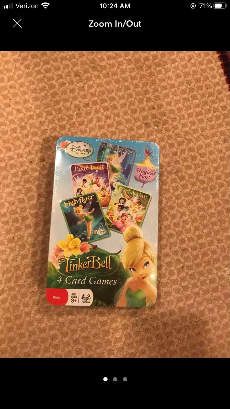 New Disney Tinker Bell 4 Card Games