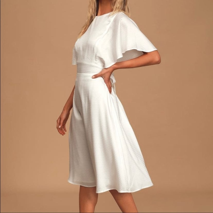 1920s Style Satin Bridal Midi Dress