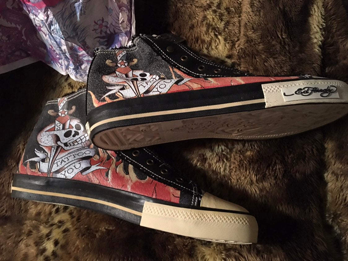 Don Ed Hardy Sneakers SZ 12 Laceless NEW