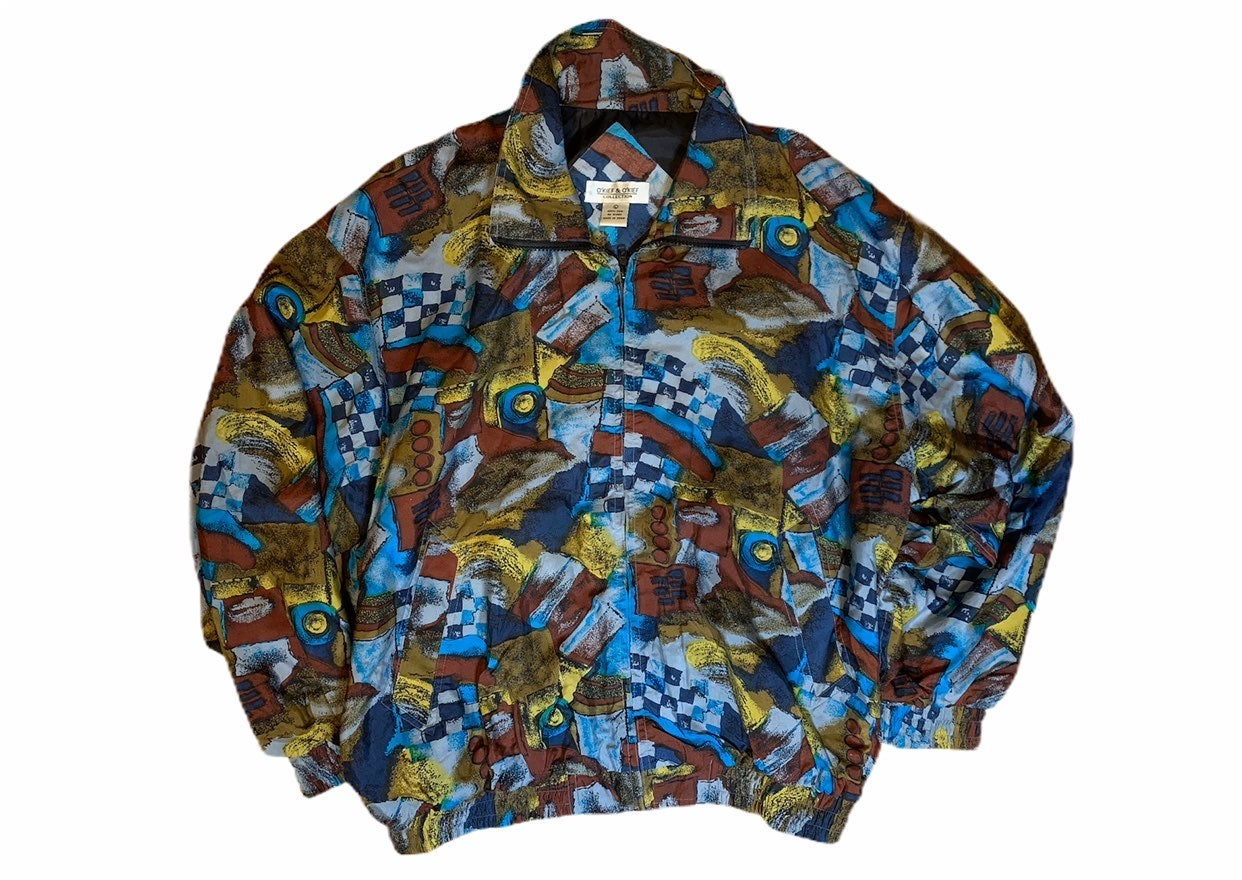 Vintage Art Full Zip Jacket 100% Silk