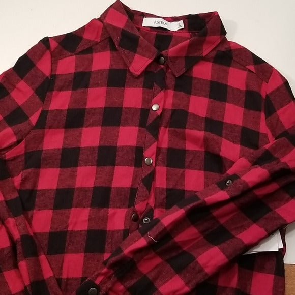 JustFab  Flannel Button-Up Tunic - XL