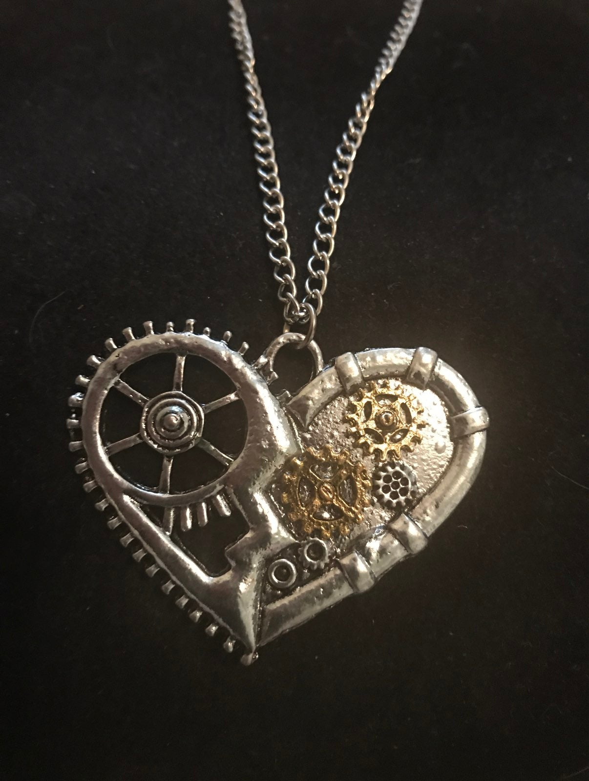 Steam punk heart necklace with chain