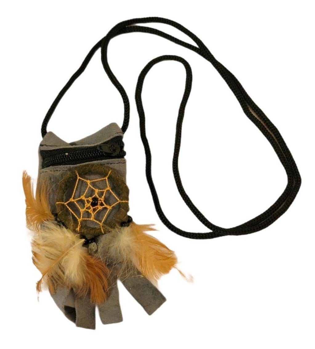 Leather Dreamcatcher Crystal Pouch