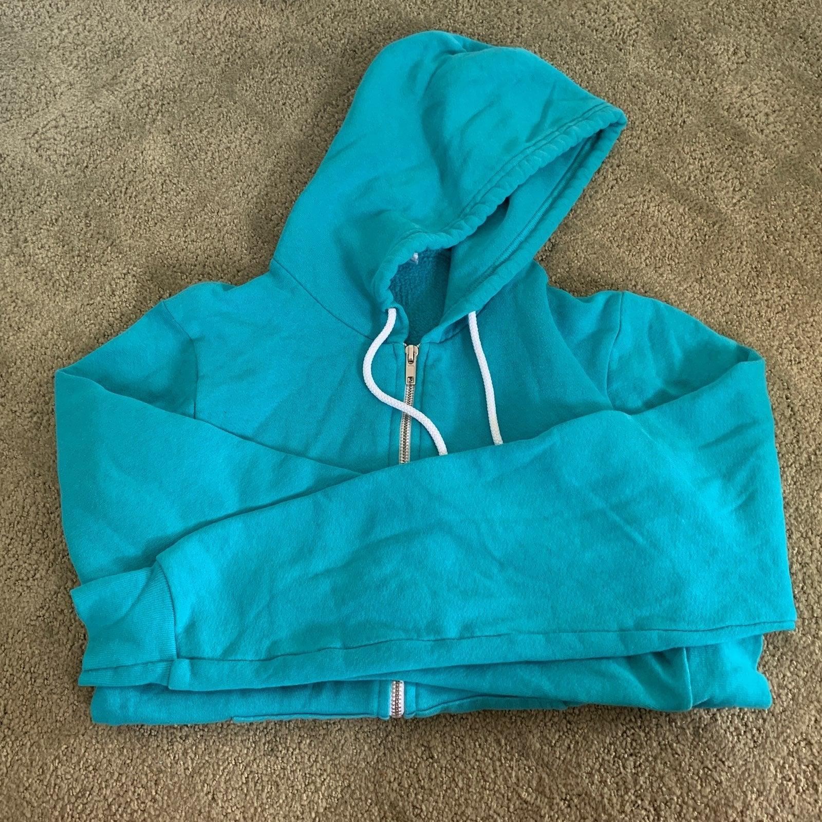 Teal basic zip up hoodie