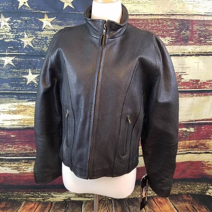 ALLSTATE BLACK LEATHER MOTORCYCLE JACKET