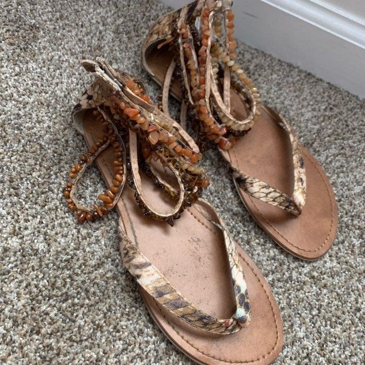 Beaded Tan Sandals