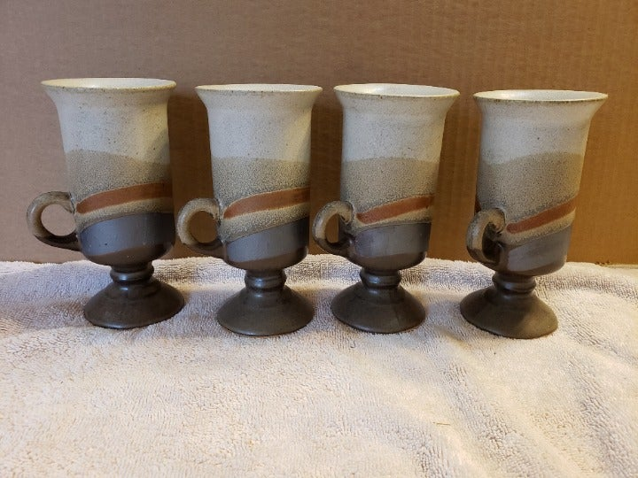 4 Handcrafted Studio Pottery Pedestal Tall Cups Mugs ~ One Repaired