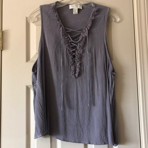 Gray Lace Up Top with Fringe