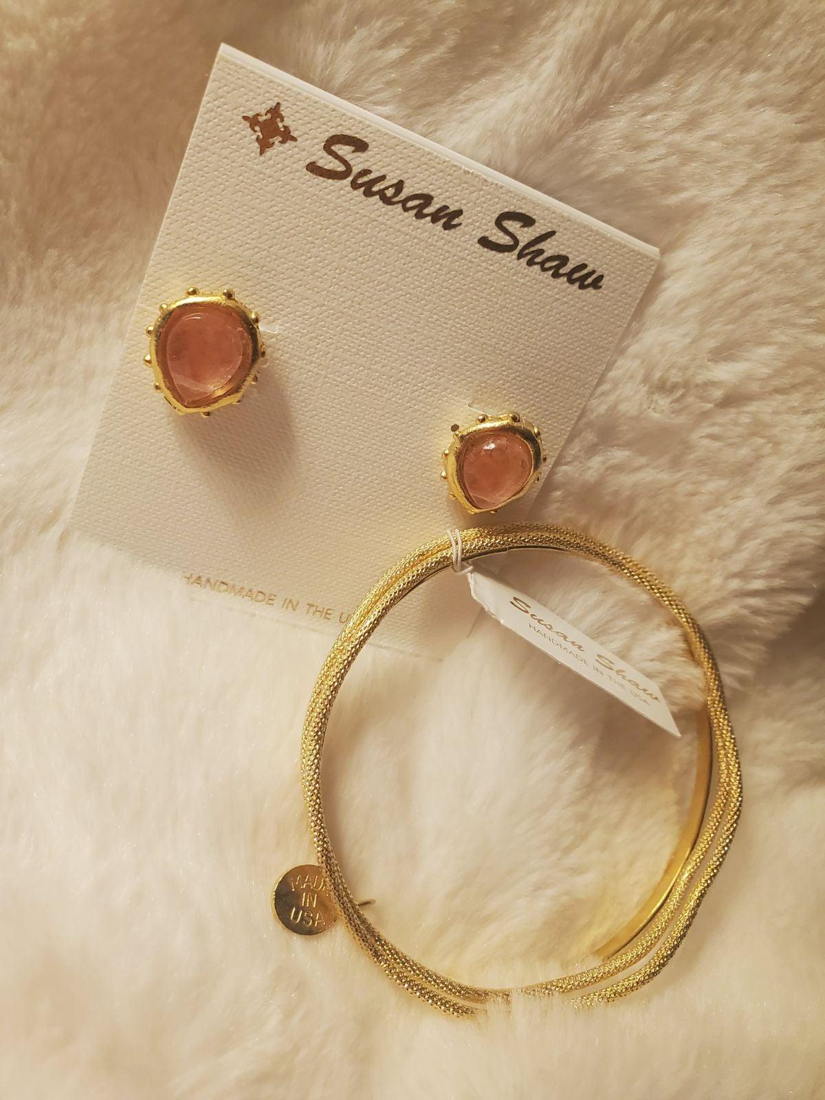 Semi precious stud earrings + gold bangl