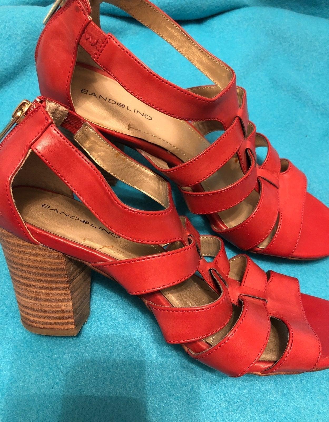 Red Bandolino Sandals Heels Size 8