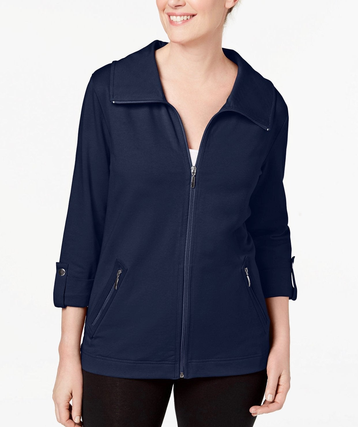 Karen Scott Zip-Front French-Terry Jacke