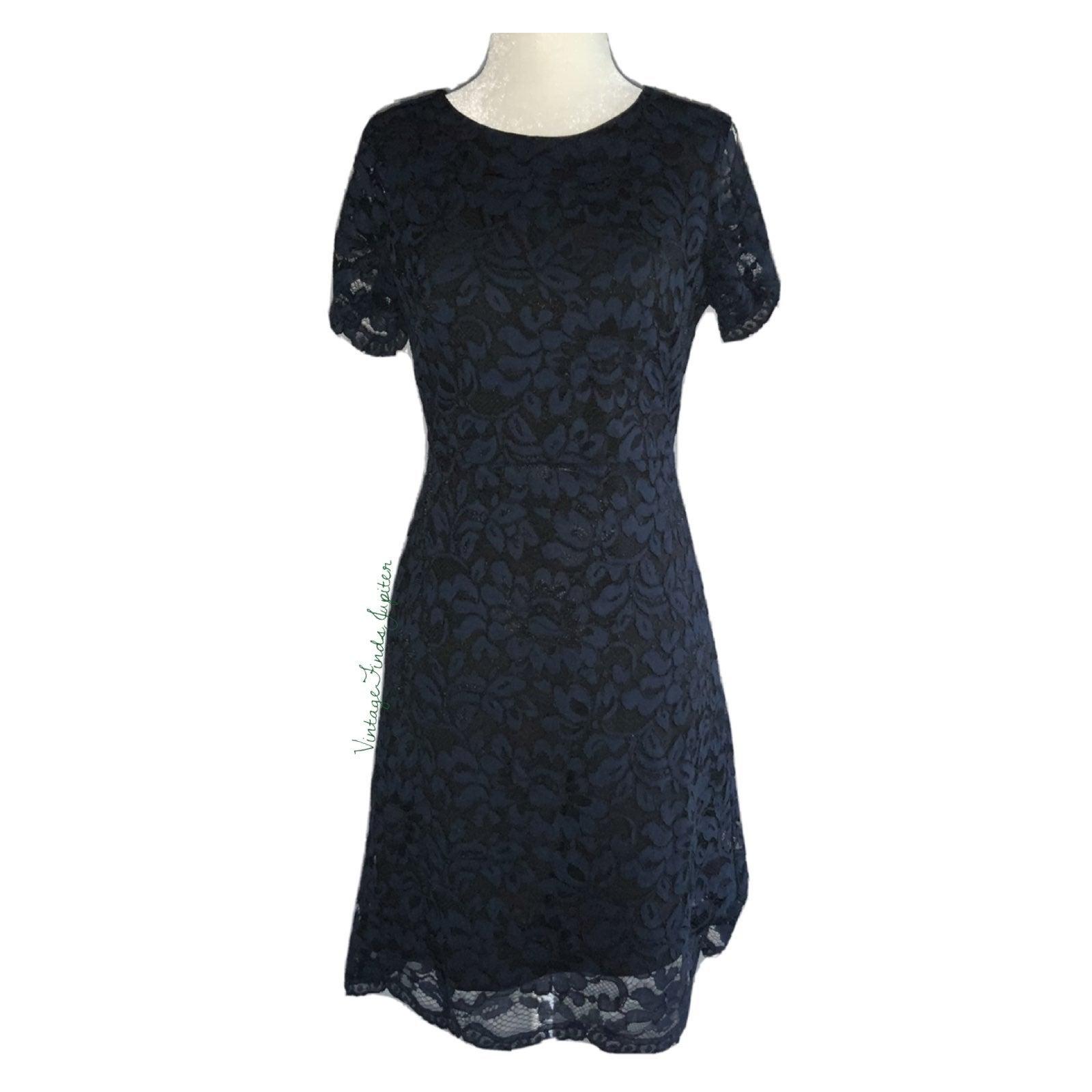 Tahari Floral Lace Blue Sheath Dress Sz0