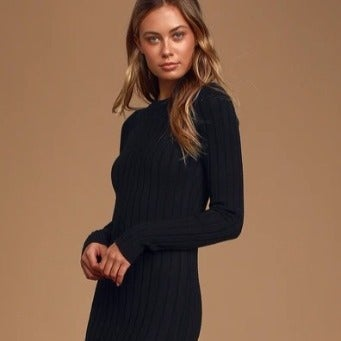 LULUS The Best Yet Black Ribbed Bodycon