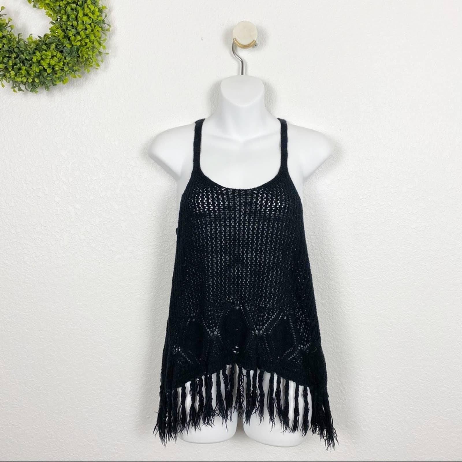 Black Crochet Knit Fringe Festival Tank