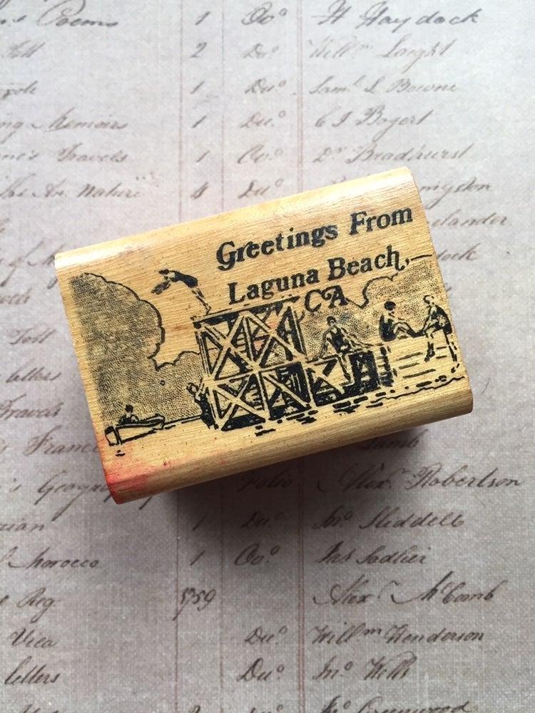 beach , vintage ,rubber stamp