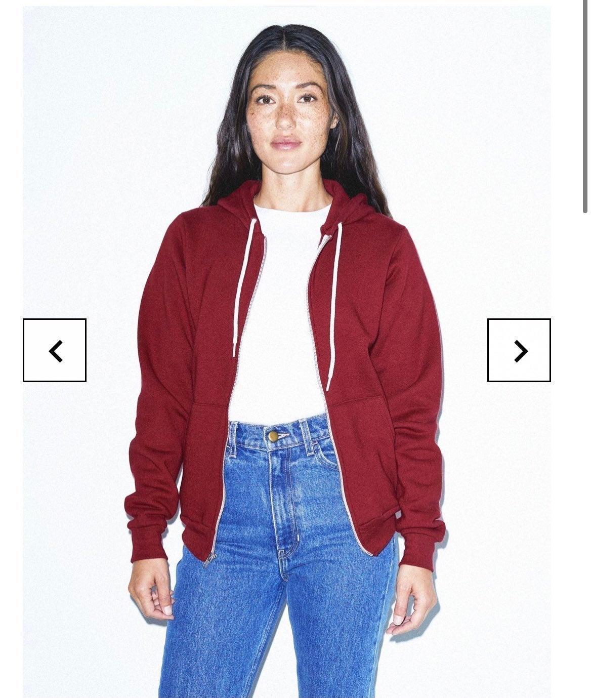 American Apparel red zip up hoodie