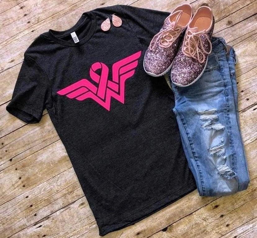 Breast Cancer Wonder Woman T-Shirt XL