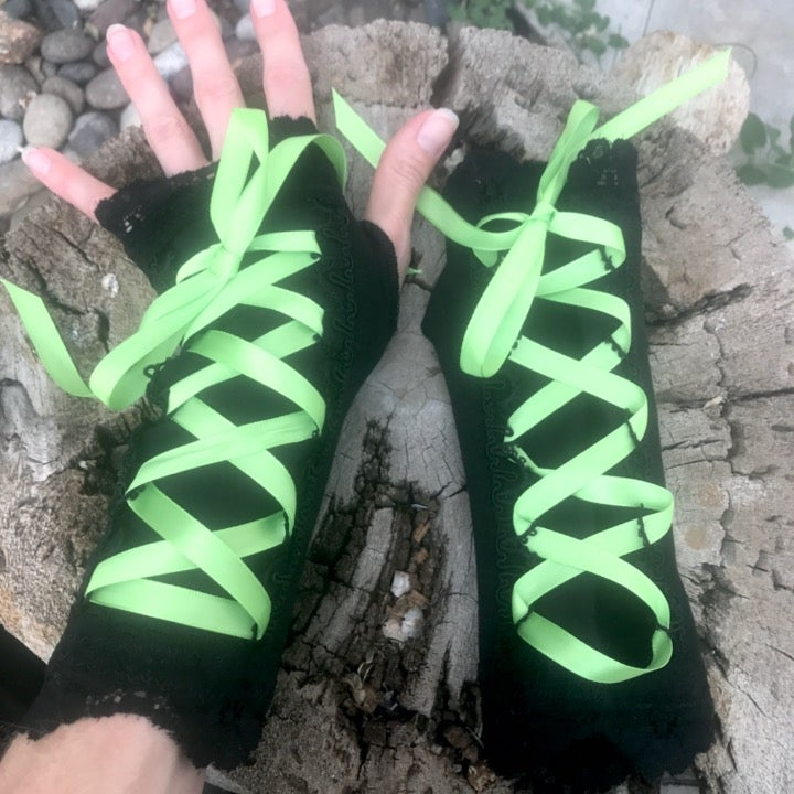 Neon Green Corset Lace Up Rave Gloves